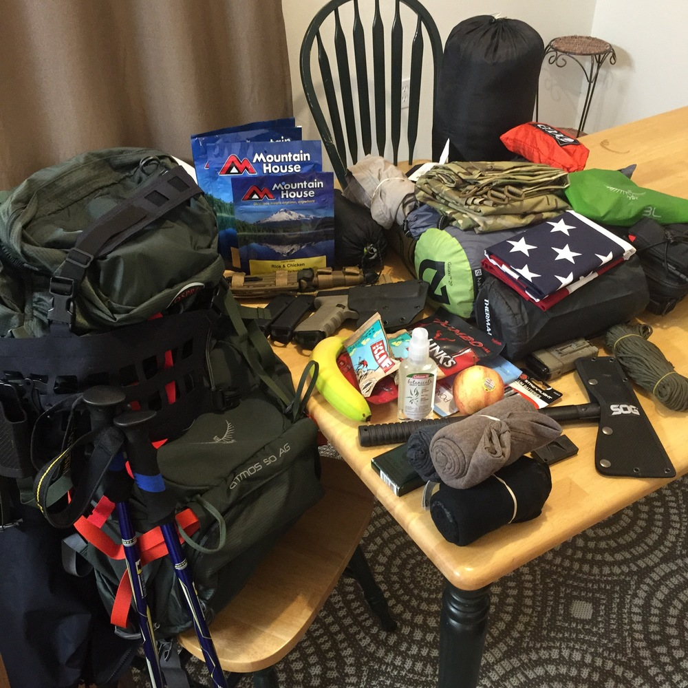 The loadout for a backpacking trip. It's good to lay out your supplies like this to take inventory.