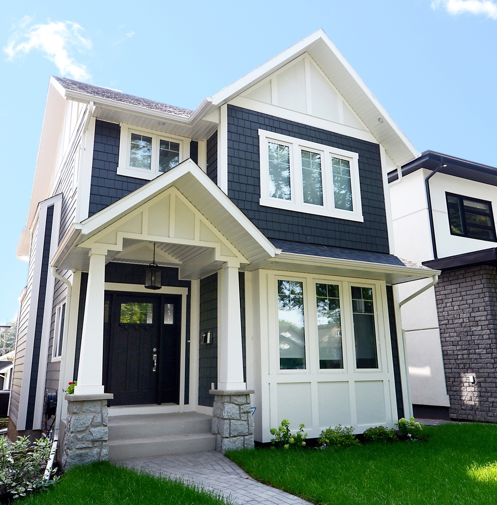 classic and contemporary Haven Builders homes built side by side