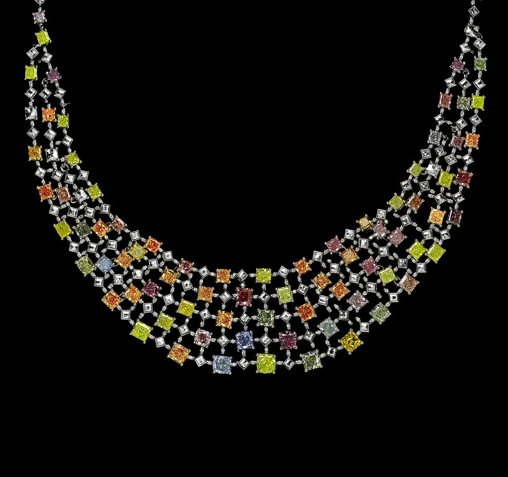The Rainbow Necklace featuring over 75 carats worth of rare natural color diamonds. The rainbow is a collection of the vast spectrum of colors in a singular work of art.