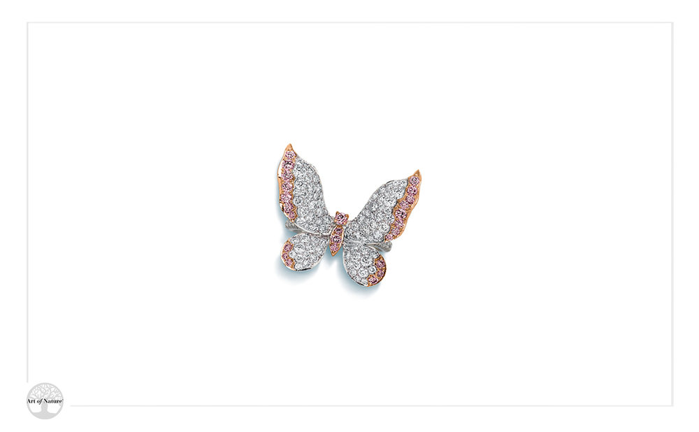 Scott West - White and pink butterfly ring