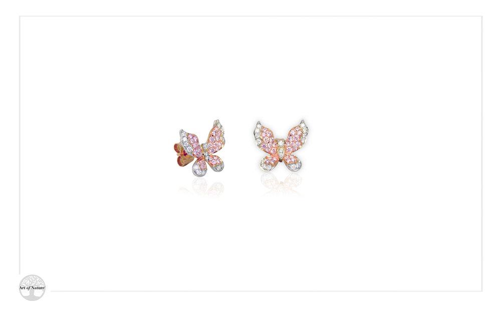 Scott West - Pink butterfly earrings