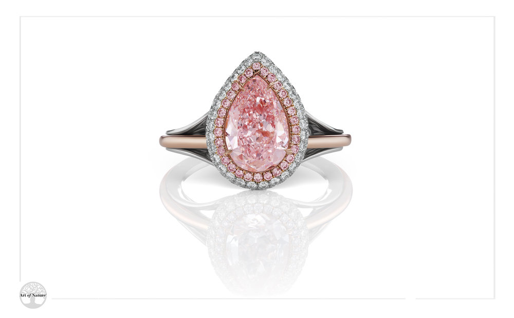 Scott West - Pink halo pear ring