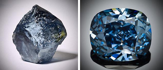 The Blue Moon, a 12.03-carat cushion cut Fancy Vivid Blue Internally Flawless jewel