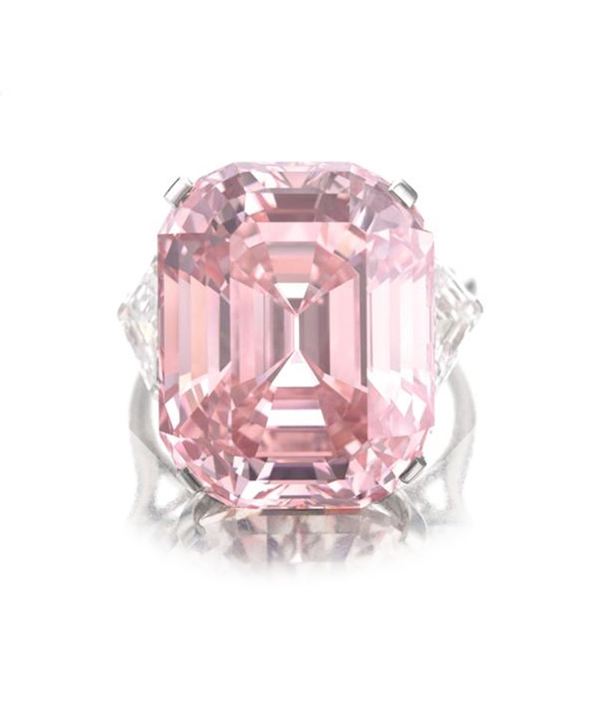 24.78-carat emerald-cut fancy intense pink diamond VVS2 (GIA)