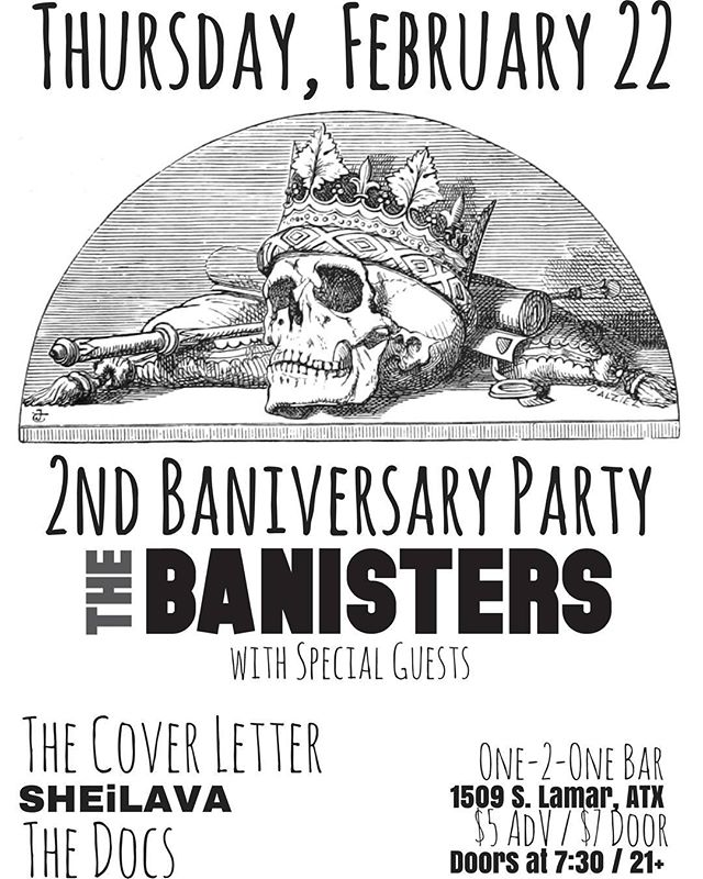 Deuces wild for our second birthday 🎂🃏 . . . . . #anniversary #partytime #happybirthday #deuces #livemusic #atxmusic #austin #february #rockandroll #folk #showflyer #poster #skull #blackandwhite #thebanisters