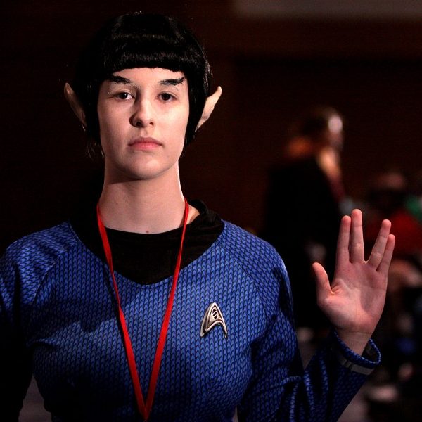 A Vulcan cosplayer shows how many options you have when it comes to cell phone plans.