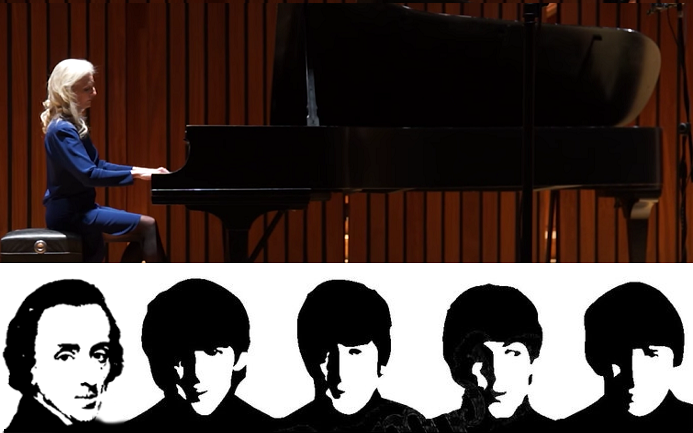 Monday, February 27 at 7:00 p.m.  Chopin Meets The Beatles:  Songs of Love, Loss, and Longing.  Howland's innovative pairing of favorite Chopin masterworks with her own Chopin-inspired Beatles arrangements.  45 minutes, sponsored by the Chopin Society.