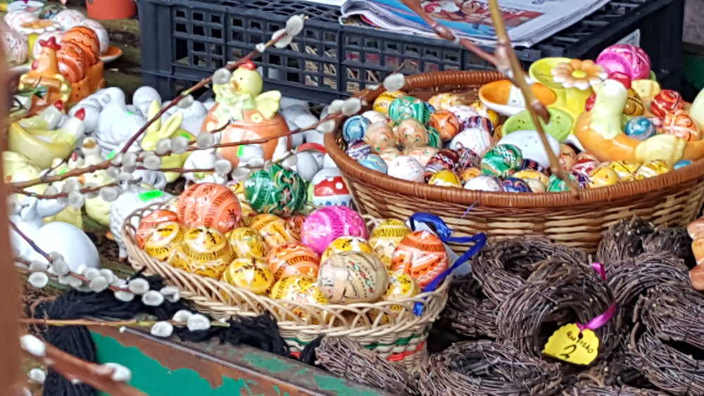 Easter comes to a market in Poznan, March 2018.