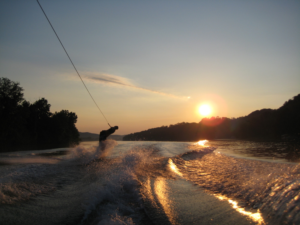 wakeboarding behind a boat