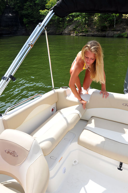 girl getting in the boat