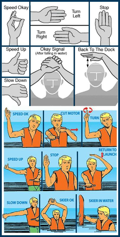 water skiing hand signals