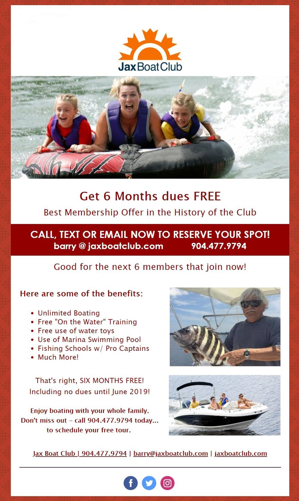 Our flyer for 6 months dues free if you join now (next 6 members)