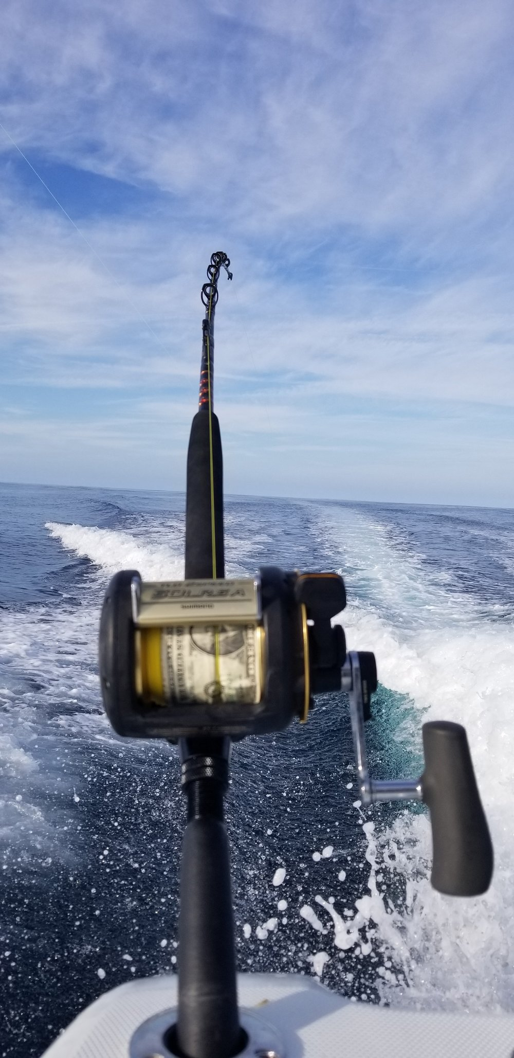 A fishing rod trolling offshore