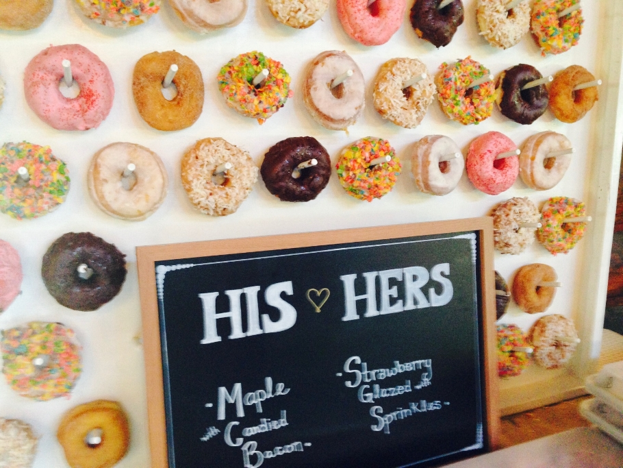 Donut wall at Maine wedding
