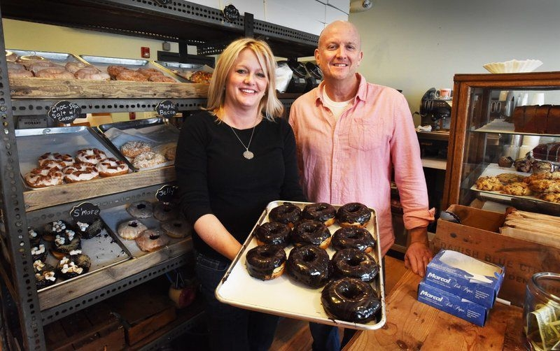 Jill and Tom at the ANGRY Donut and Bakery 38 Washington St. Newburyport. Photo Credit Bryan Eaton.