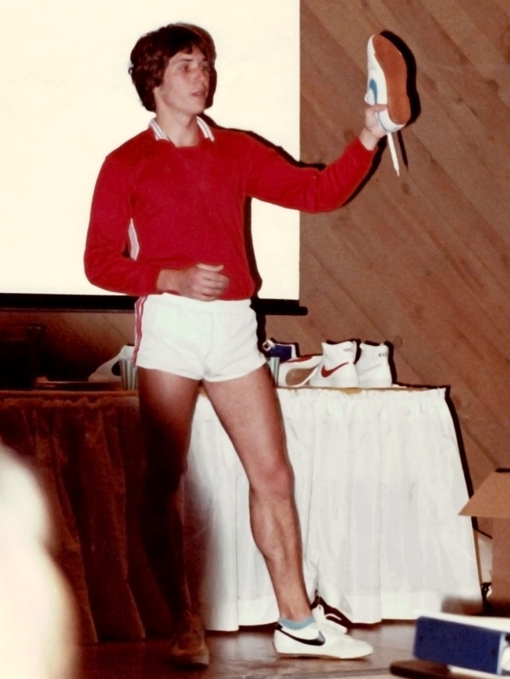 Brent James presenting for the 1978 sales meeting in Sun River, OR