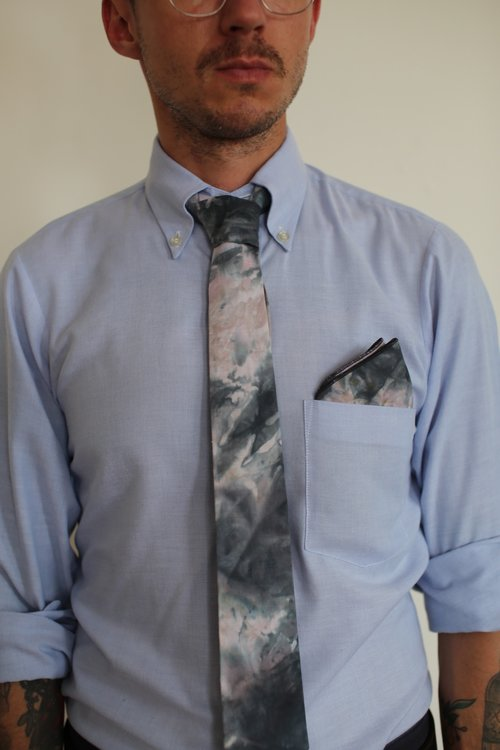 Neutral Ice Dye Tie + Pocket Square — owl + mouse textile designs