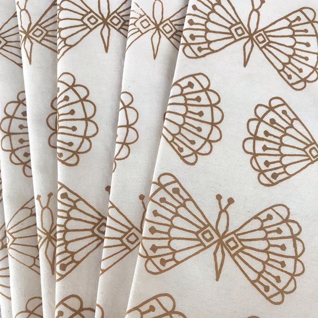 We finished up these beauties for a recent wholesale order // not a new print but forever a favorite // neutral butterfly napkins #owlandmousehome