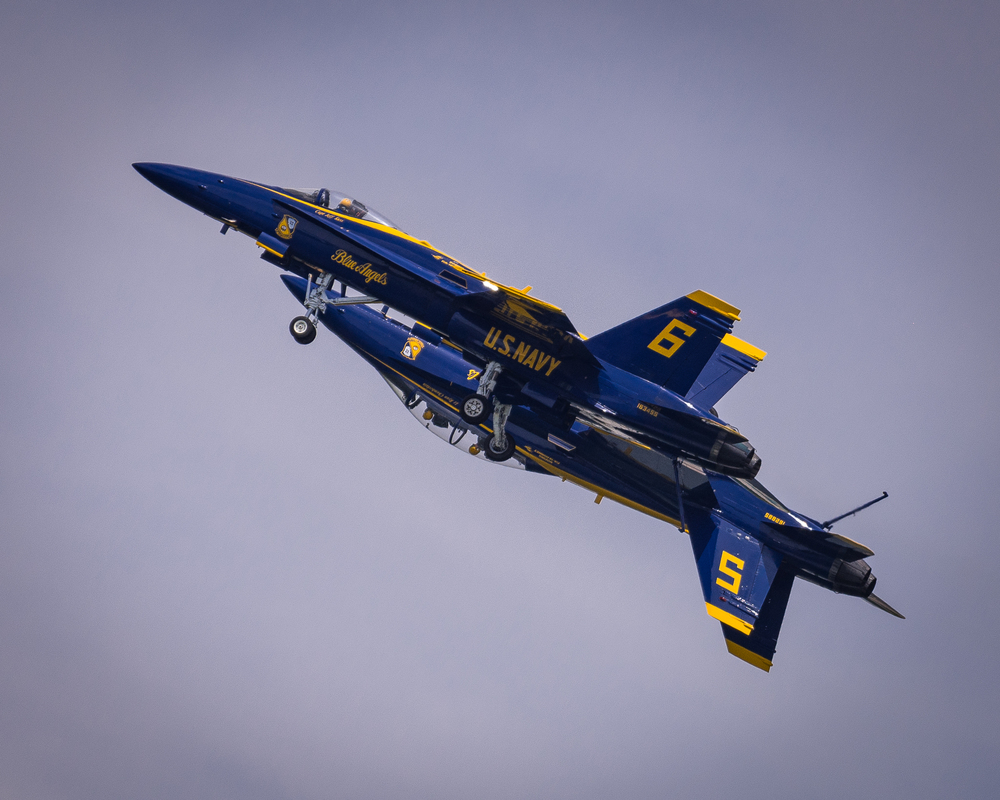 The Blue Angels over Annapolis, MD.  A week later, Captain Jeff Kuss, pilot of #6, was tragically killed in a crash in TN.  http://local15tv.com/news/local/funeral-held-for-fallen-blue-angel-capt-jeff-kuss