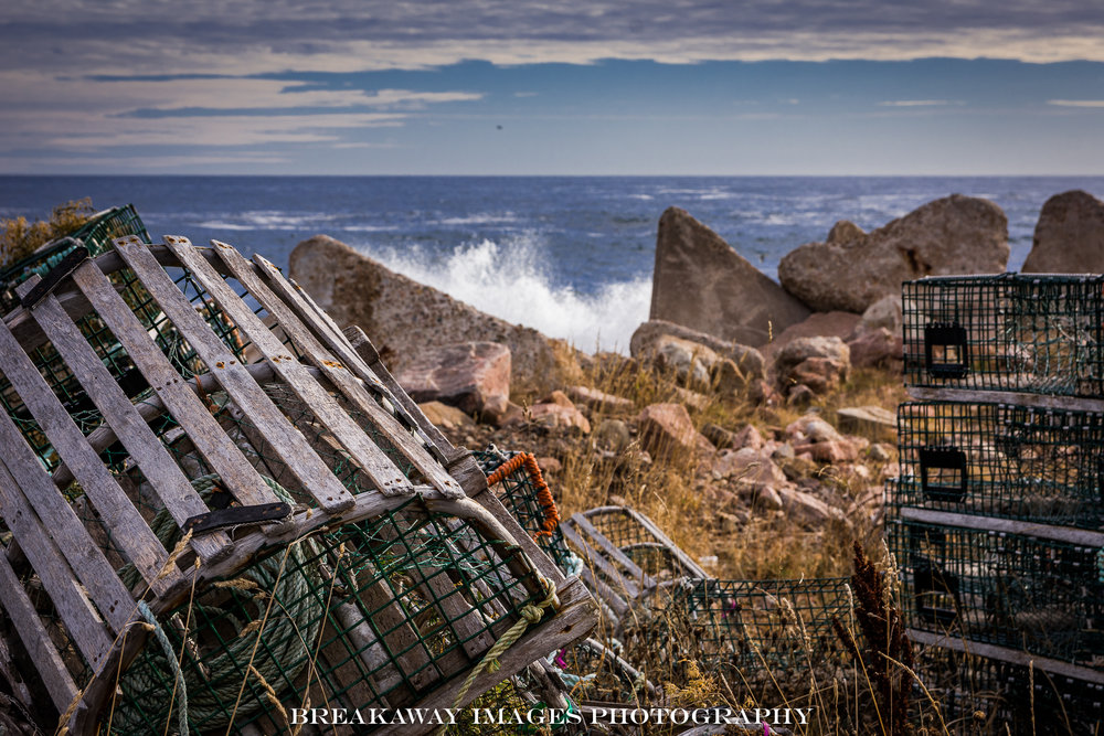 Lobster Traps and Surf, Neil's Harbor, Nova Scotia