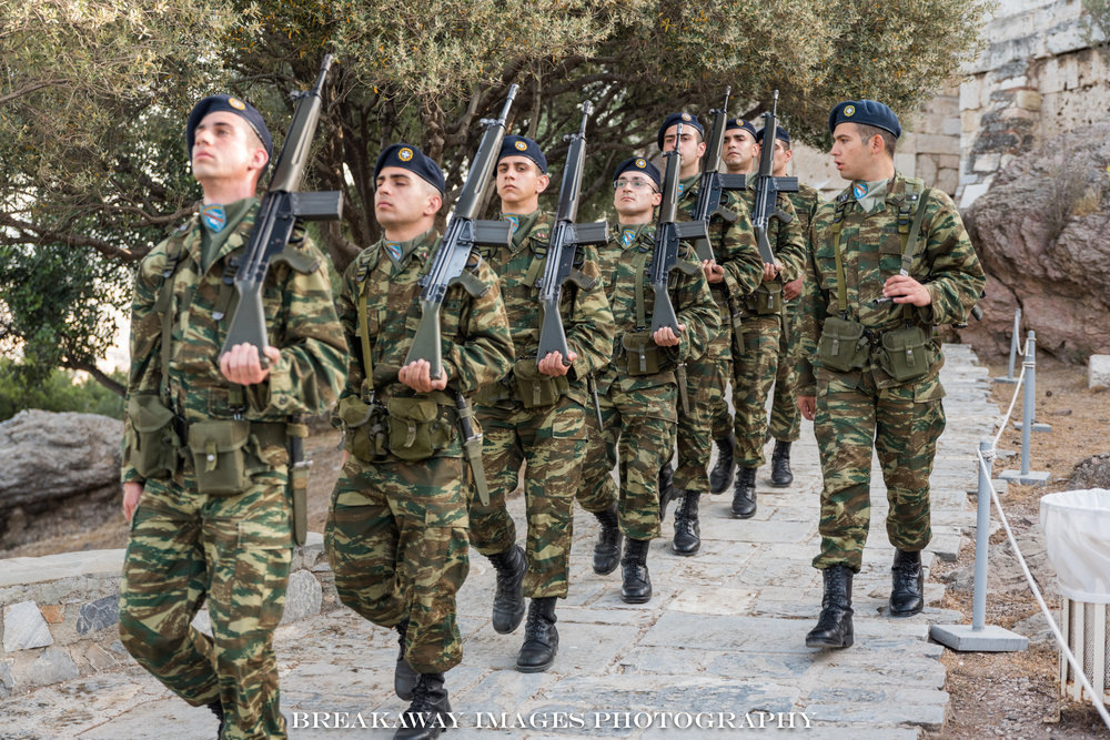 Portrait of Greek Soldiers, Syntagma Square, Athens, Greece.
