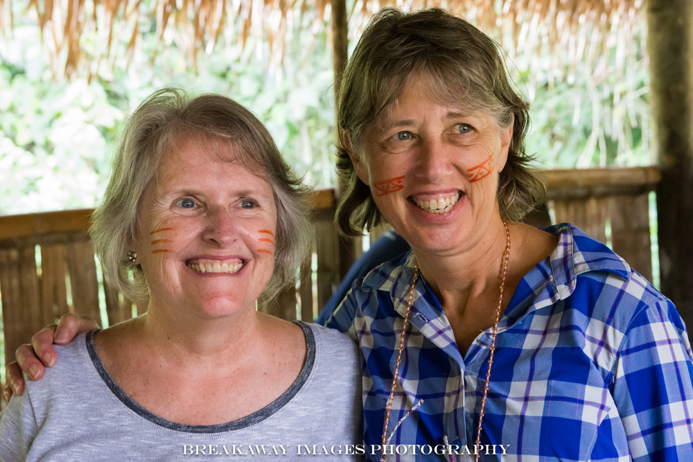"Rosemary Theurer and Cyndi Shanahan, ""made up"" Quechuan style"