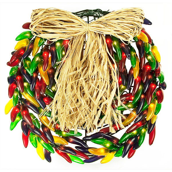 Lighted Chili Pepper Wreath