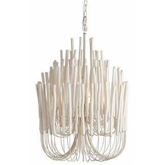 Arteriors Wood and Iron Chandelier
