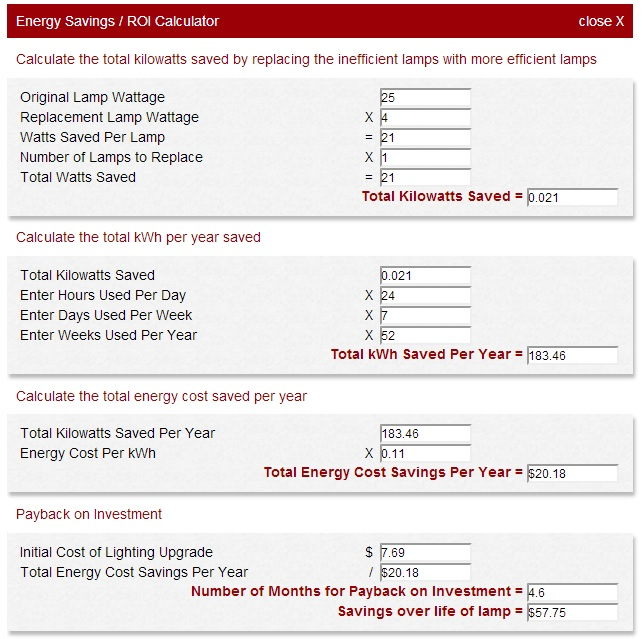 1000Bulbs.com Energy Savings Calculator Extended