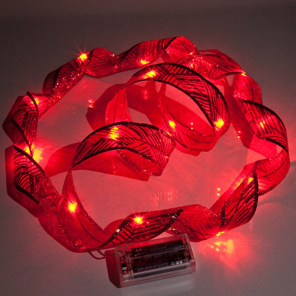 Red LED holiday ribbon lights battery operated