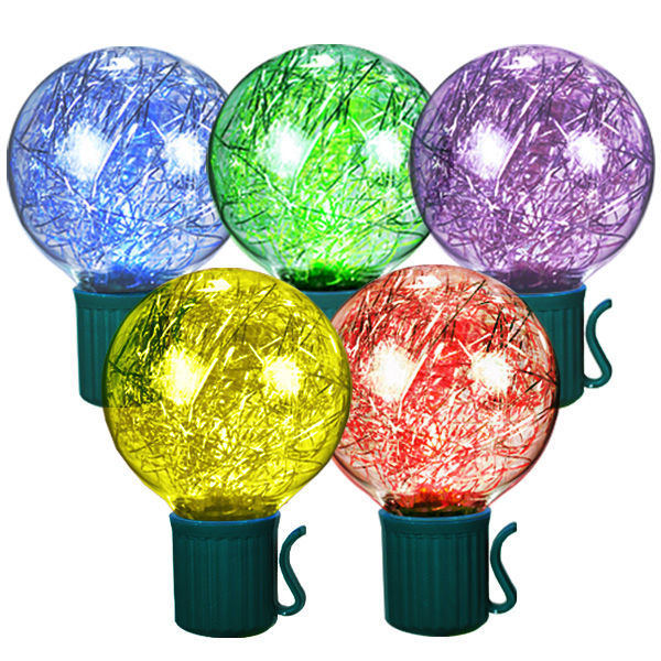 Tinsel-filled globe stringers, multi-color