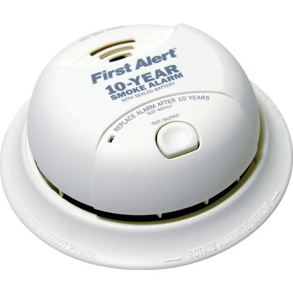BRK smoke detector with sealed Lithium battery and dual ionization sensor.