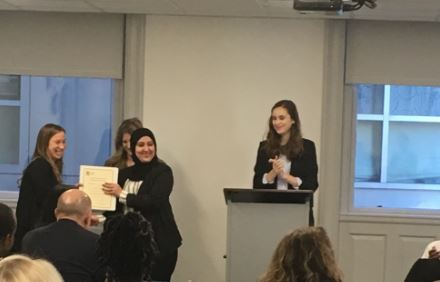 On December 2, 2016, Asma Amahri attended her Service Industry Training Program graduation ceremony at the IINE- Boston office. She is pictured above with Skills Training Program Coordinator Chloe Walker and Skills Training Program Specialist Kelson Brighton.