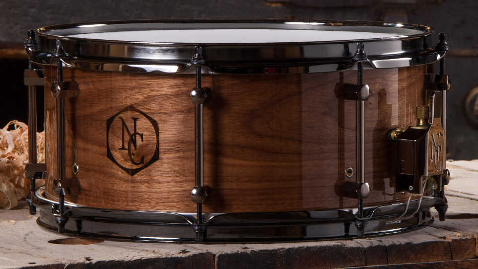 Walnut 6.5 X 14 Gloss Wood Burn Logo and Black Chrome Hardware