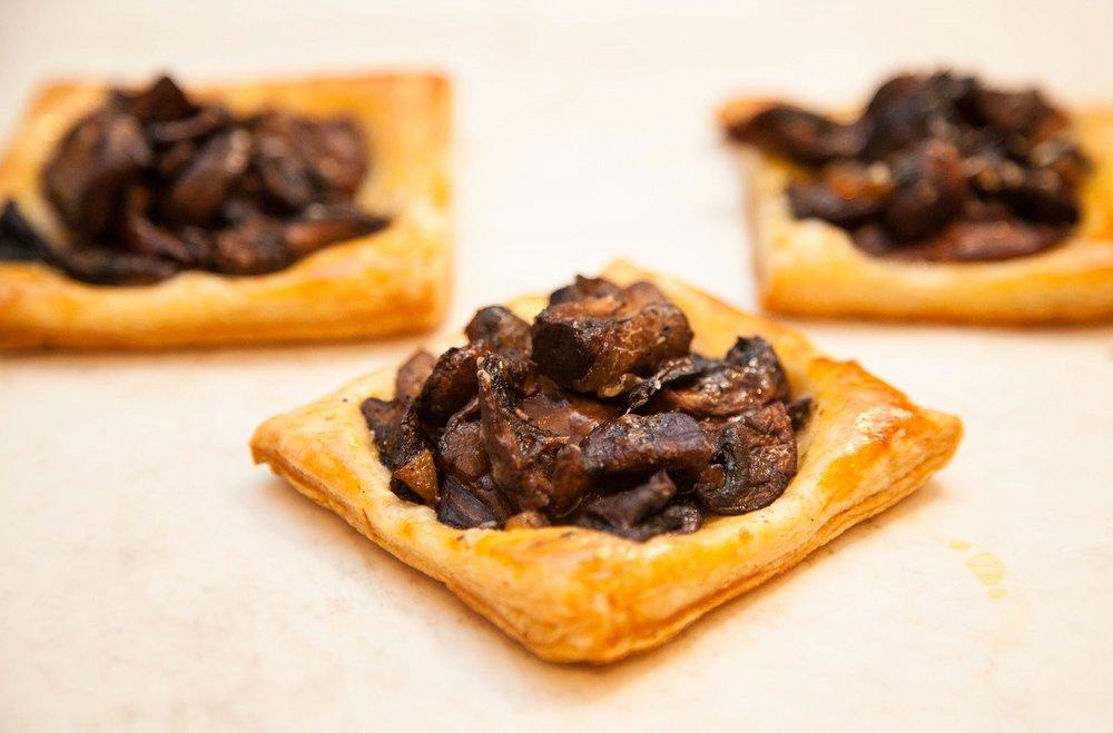 bite-sized mushroom tarts