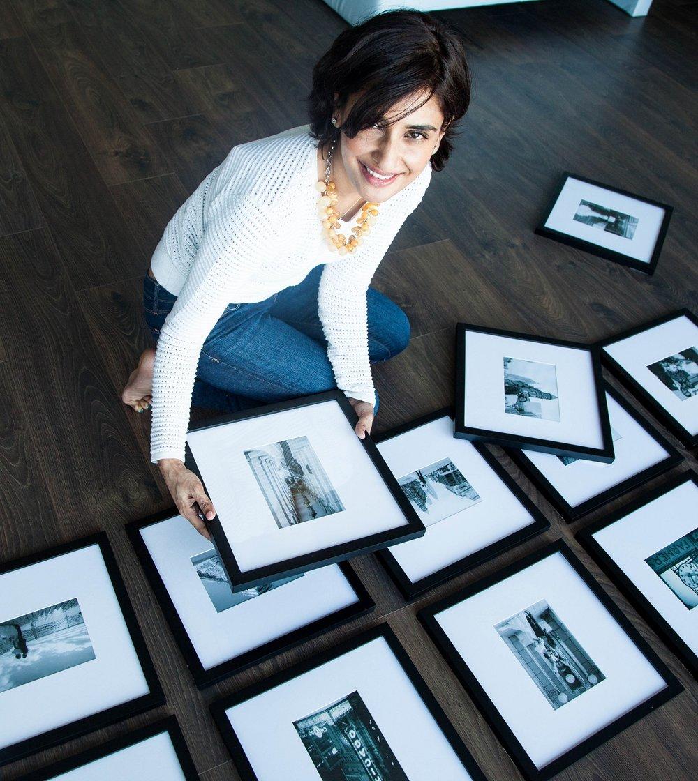 placing framed photos