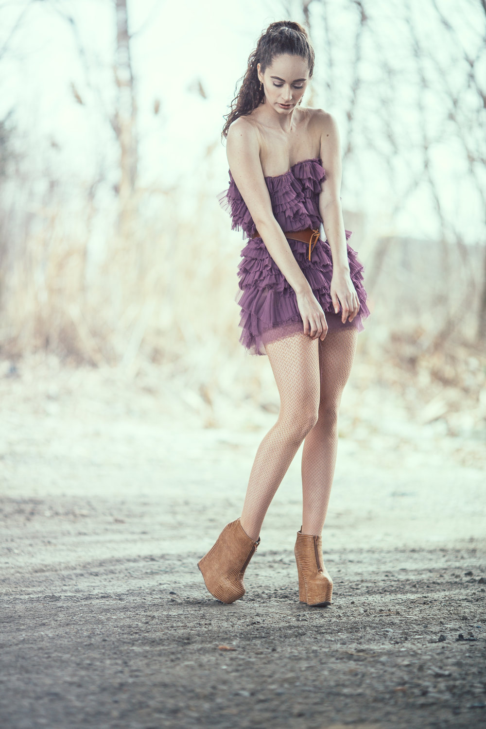 Pauline Fashion Editorial, tester shoot in purple dress  Detroit Photography, Fashion, Editorial