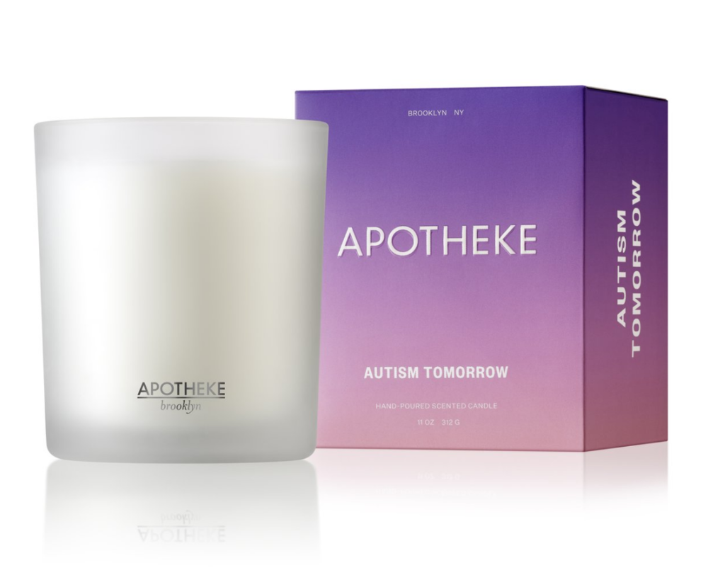 AUTISM TOMORROW X APOTHEKE$38 - 50% of all sales will be donated to Autism Tomorrow.Scent notes: Sea salted ozone, palo santo and accord mingle with bright sage for a cleverly blended scent that is fresh and earthy.Our candles are hand-poured with perfume-grade fragrance oils and a high quality soy wax blend. Each scent is formulated with a unique wick, wax, and fragrance combination to create a strong and clean burn.Estimated Burn Time: 60-70 hours