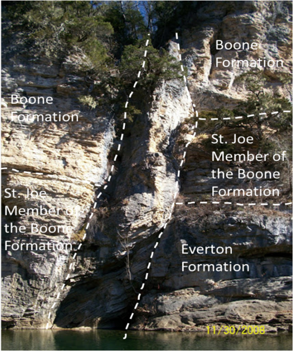 Photo of Welch Bluff showing the offset of the geologic stratigraphic formations.