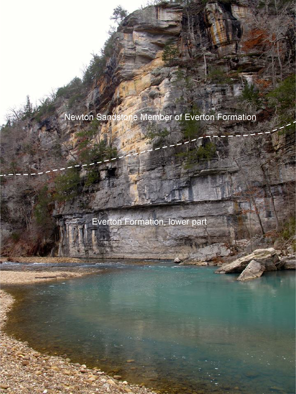 Roark Bluff upstream end