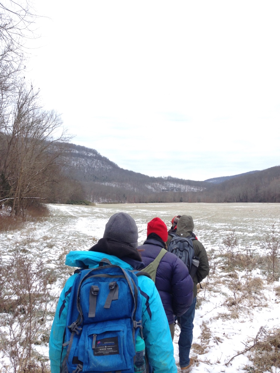 Hiking into Boxley Valley to collect OSL samples.