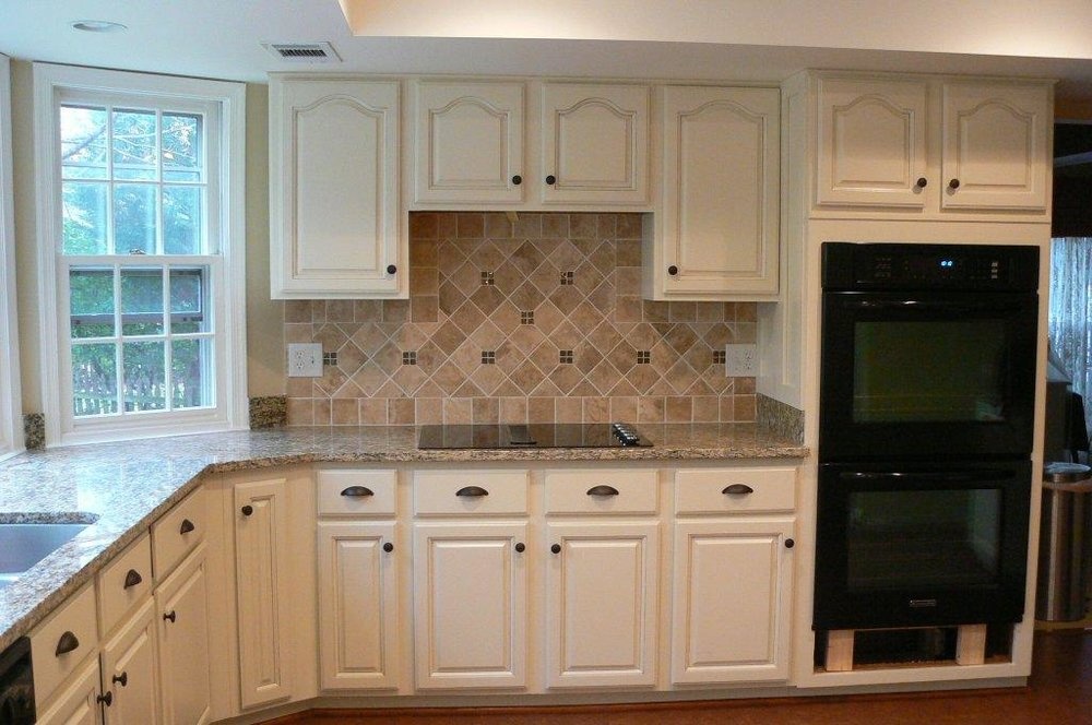 After- Painted Cabinets/New Backsplash