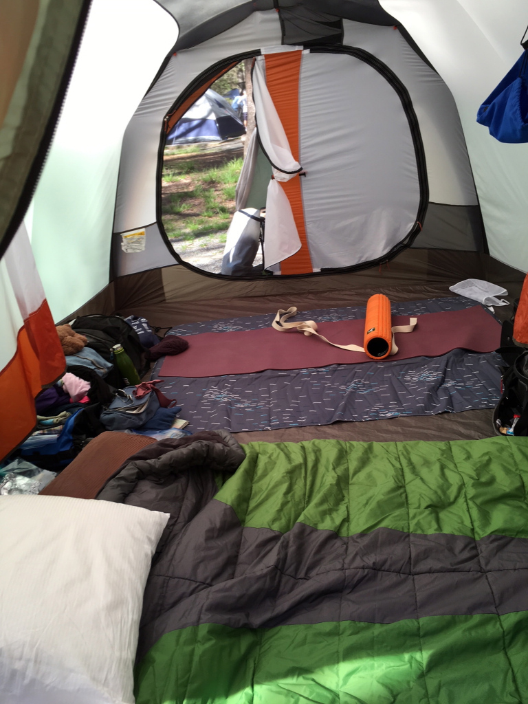 "Huge 8 person REI Kingdom tent allowed plenty of room for a sleeping quarters and ""recovery room."""