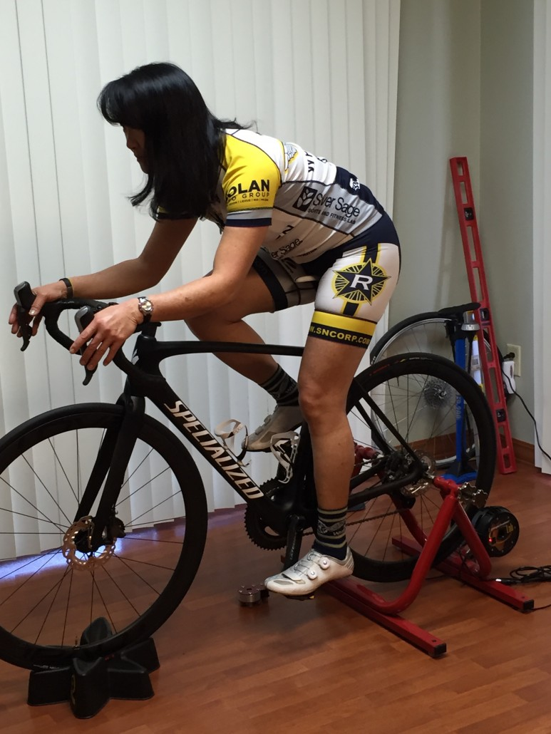 Lucie Oren at her latest bike fit, conducted by Julie Young.