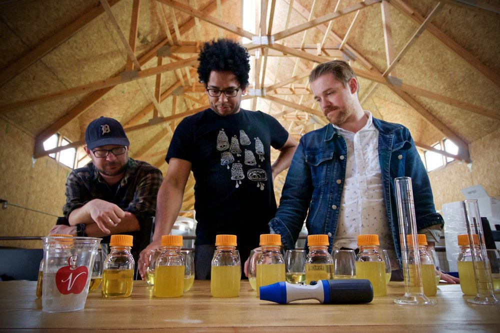 Seth, Tony, and Chad taste through samples from our cellar and barrels to find the right blend for Garage Core.