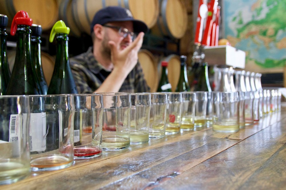 Head cidermaker Seth Boeve presents a thorough tasting of ciders from our cellar to find characteristics that Chad and Tony want in the final cider.