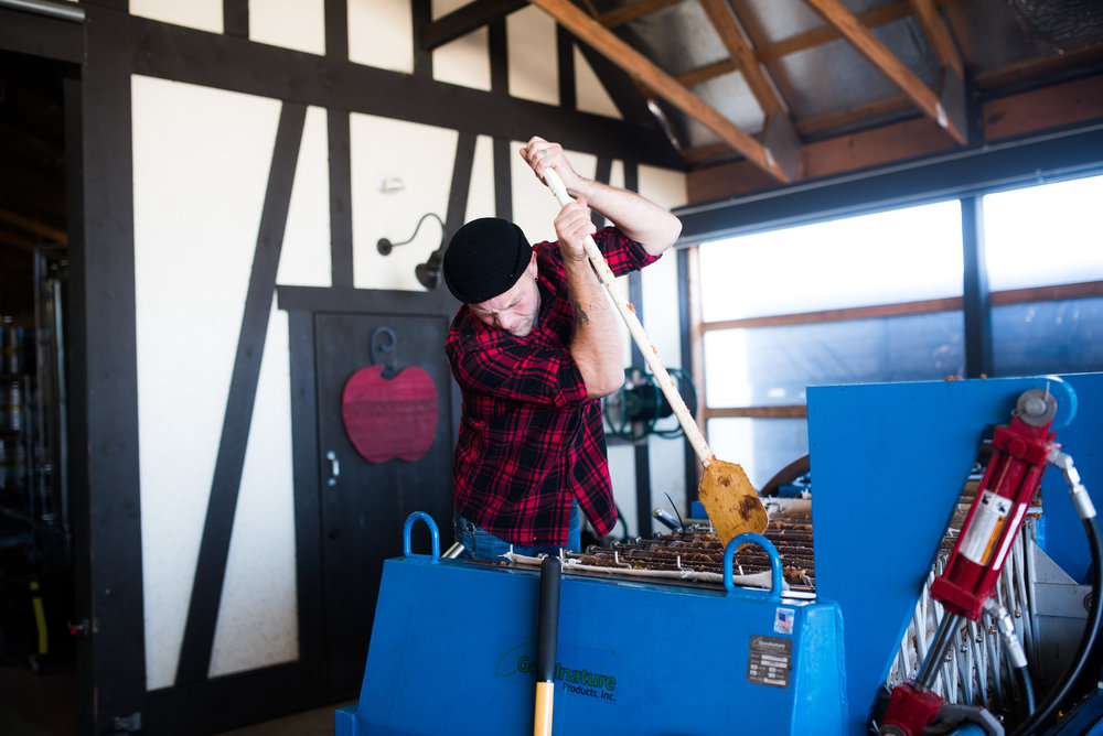 We hand-press apples and ferment our cider in our cider houses in Fennville, Michigan.