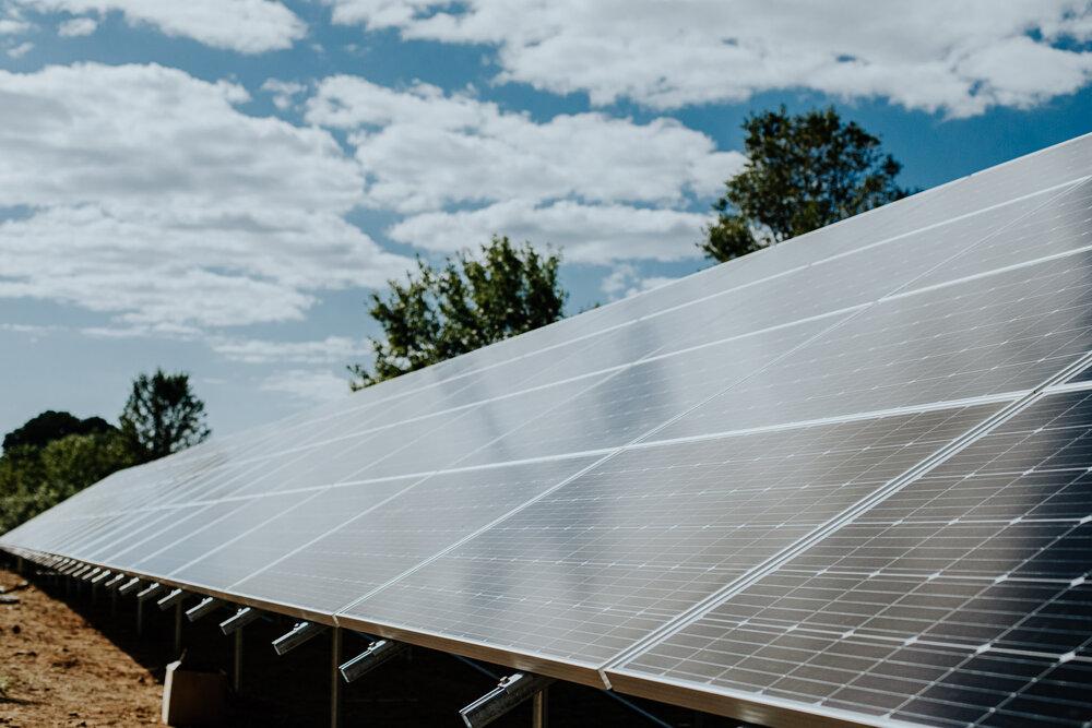 Solar panel array at Virtue Cider in Fennville, Mich.