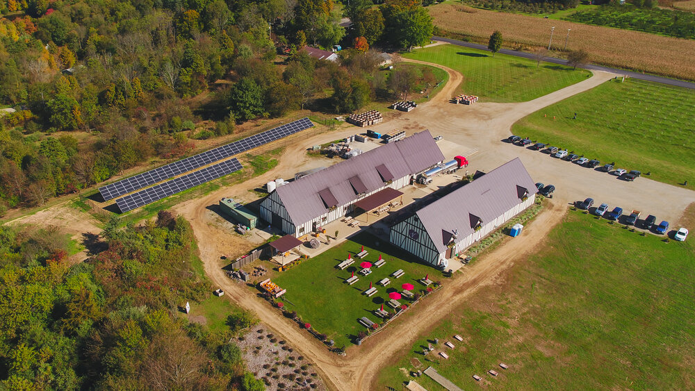 Overhead view of Virtue Cider including the solar array. (Photo courtesy of ForeFront Power)