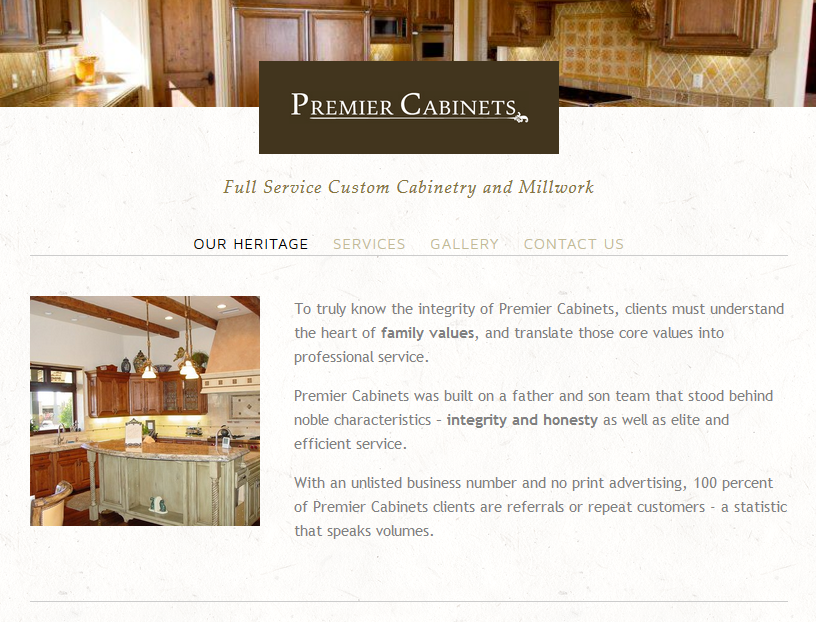 Website for  Premier Cabinets .